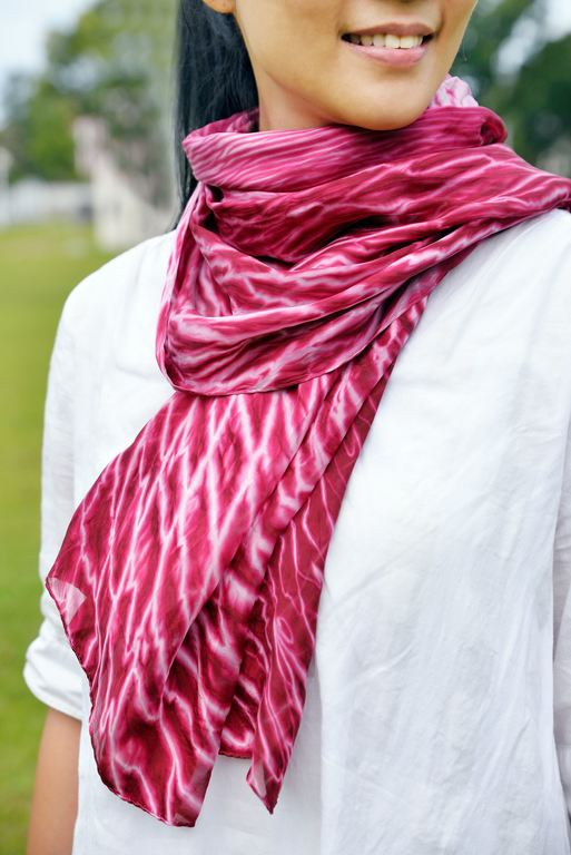 植物絞染絲巾